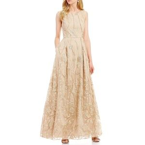 Karl Lagerfeld champagne embroidered Gown dress
